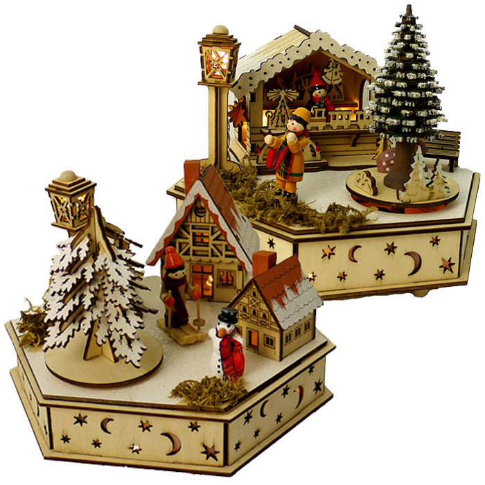 holzspieluhr mit led holz spieluhr weihnachtsdeko weihnachten geschenk winter ebay. Black Bedroom Furniture Sets. Home Design Ideas